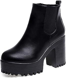 POLP Botas Tacon Zapato Mujer Tacon Ancho Zapatos señora Invierno Botas de Vestir Botines Mujer Tacon Botines Mujer Tacon Botas de Invierno para Mujer Botas de Plataforma