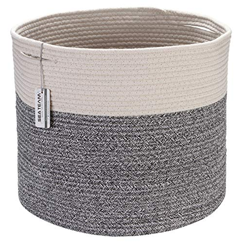 Sea Team Large Size Cotton Rope Woven Storage Basket with Handles, Laundry Hamper, Trunk Organizer, Clothes Toys Bin for Kid's Room, 15 x 13 inches, Round Open Design, Off White & Variegated Grey