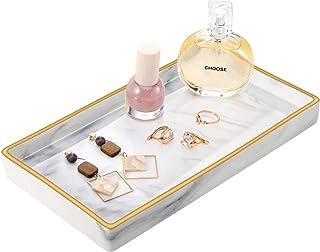 MoKo Plateau de Vanité Céramique, Organisateur de Rangement avec Bordure Dorée Décorative Mutifonctionnel 15.5x9x5 cm pour...