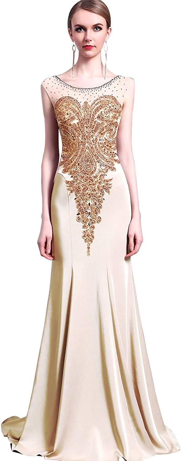 Epinkbridal Sparkly Crystal Beading Prom Dresses Long 2018 Wedding Party Gowns Formal