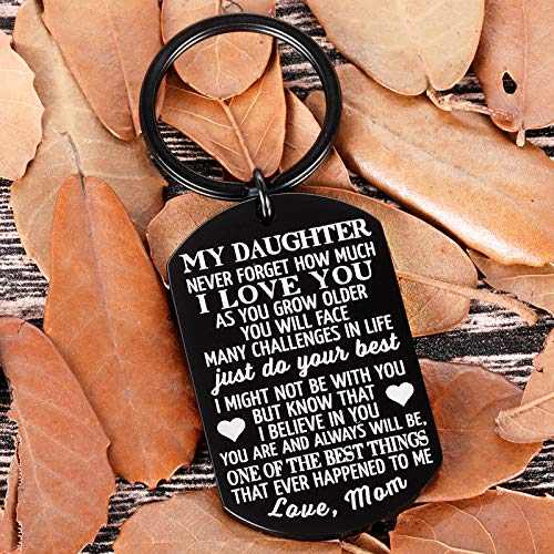 best gifts under 25 stocking stuffers and more to My Daughter Keychain Christmas Gifts for Daughter from Mom Dad Father Inspirational Stocking Stuffers for Her from Teen Adult Women Teenage Girls Kids Birthday Gradation Wedding Presents