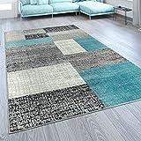 Paco Home Designer Wohnzimmer Teppich Modern Kurzflor Karo Design Türkis Grau Weiß,...