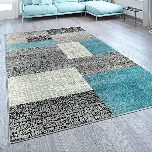 Paco Home Designer Wohnzimmer Teppich Modern Kurzflor Karo Design Türkis Grau Weiß, Grösse:160x220 cm