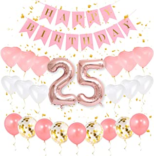 GIHOO 25th Birthday Decorations - 25th Birthday Party Supplies for Girls, 25 Number Balloon Rose Gold, Pink Happy Birthday Banner, Sweet Heart Latex Balloon and Gold Confetti Balloons (25)