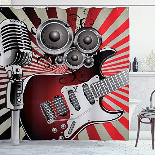 ABAKUHAUS Duschvorhang, Gitarre Mikrofon & Lautsprecher in Retro Design Vintage Hipster Mehrfarbigen Rock N Roll Druck, Wasser & Blickdicht aus Stoff mit 12 Ringen Schimmel Resistent, 175 X 200 cm