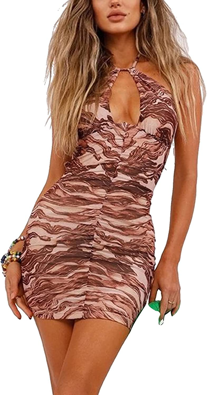 Women Sexy Halter Mini Dress Y2k Sleeveless Backless Bodycon Dress Summer E-Girl Club Dress Streetwear