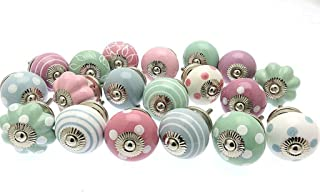 Zoya's 21 X Mixed Shabby Chic Ceramic Cupboard Knobs Cabinet Drawer Pulls Pastel 1