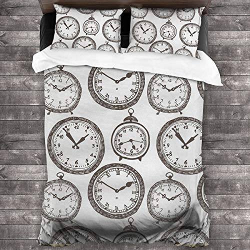 VORMOR Reloj de Bolsillo Vintage con números en él Cronómetros de diseño Antiguo Impresión Antigua Fundas Edredon 240x260cm con 2 Fundas De Almohada 50x80cm para La Decoración del Hotel En El Hogar