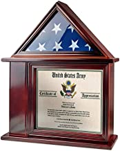 AtSKnSK Flag Display Case with Certificate and Document Holder Frame for 3' X 5' Flag