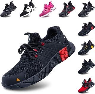 Zapatos de Seguridad Hombre Mujer Zapatillas de Trabajo con Punta de Acero Ligeros Calzado de Industrial y Deportivos Negr...