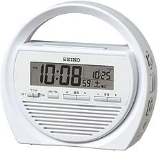 セイコー クロック 目覚まし時計 防災クロック 電波 デジタル 手回し充電 ラジオ LED懐中電灯 非常用ブザー 携帯電話充電 白 SQ764W SEIKO