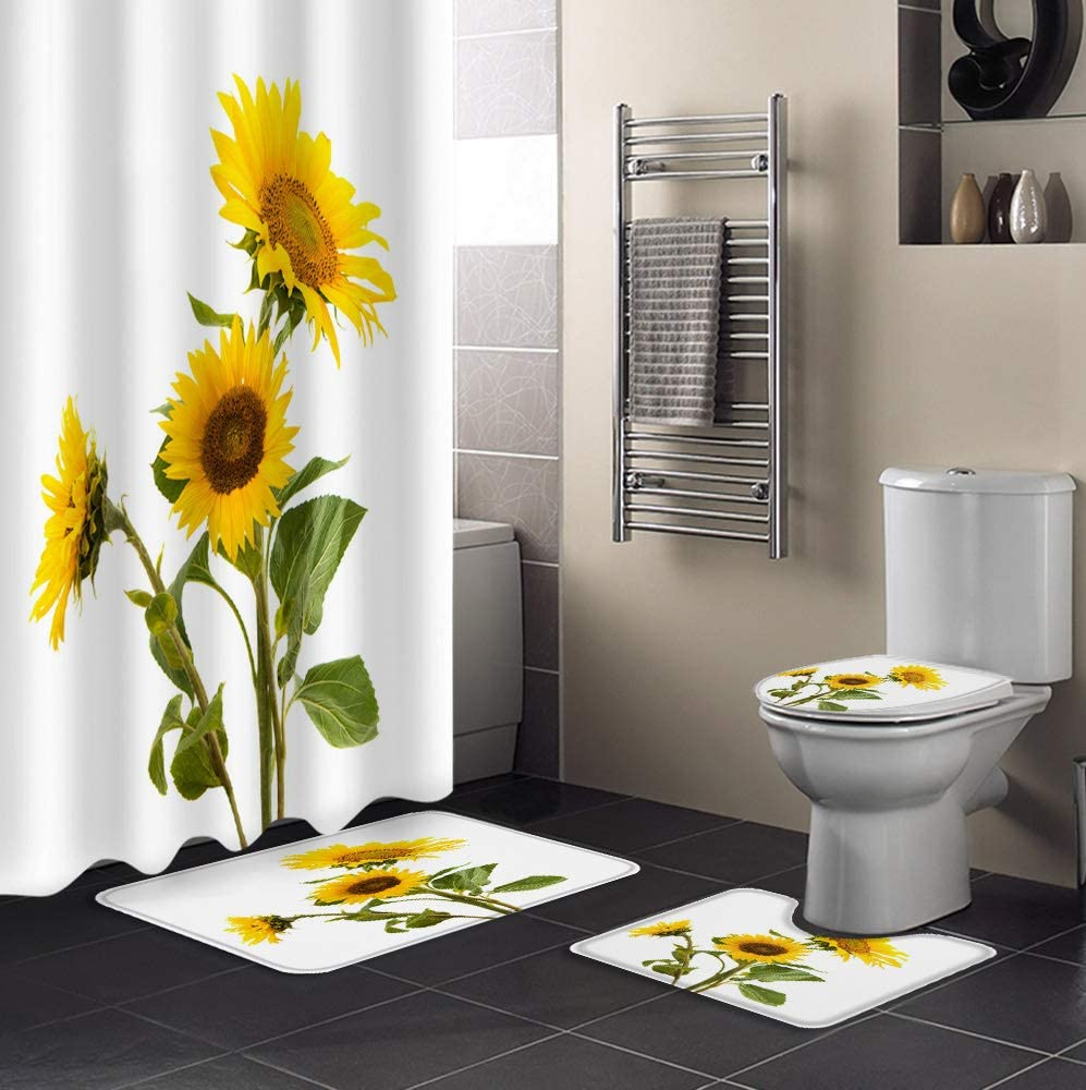 4 PCS Shower Curtain Sets Non-Sli overseas with Our shop OFFers the best service Bathroom Waterproof