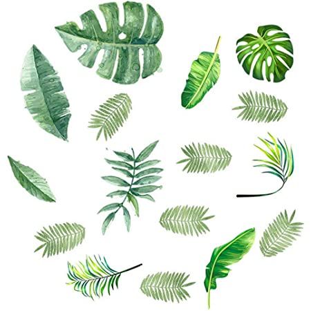 Removable Wall Sticker Nice Nursery Tropical Fall Green Leaves Home Decor DIY AU