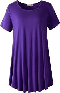 43ae83ffe9e LARACE Women Short Sleeves Flare Tunic Tops for Leggings Flowy Shirt