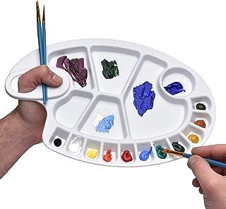 لوحة ألوان من البلاستيك الأبيض القابل لإعادة الاستخدام من 17 خيطًا 20 سم × 29 سم لوحة فنية بيضاوية الشكل مطلية بالألوان ال...