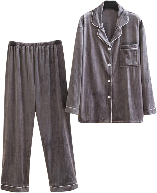 Men's Pajamas Set Long Sleeve Pajama Sleepwear gray 6XL