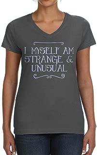 Tenacitee Ladies I Myself Am Strange and Unusual V Neck T-Shirt, X-Large, Charcoal