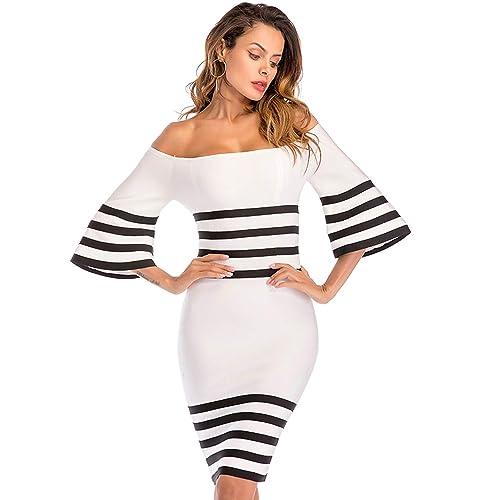 Striped Bodycon Dresses Amazon Com