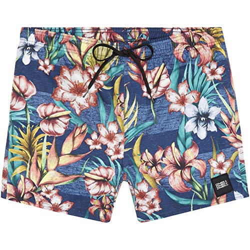 O'Neill Herren PM Summer-Floral Badehose, Blau All Over Print mit Gelb/Orange, M