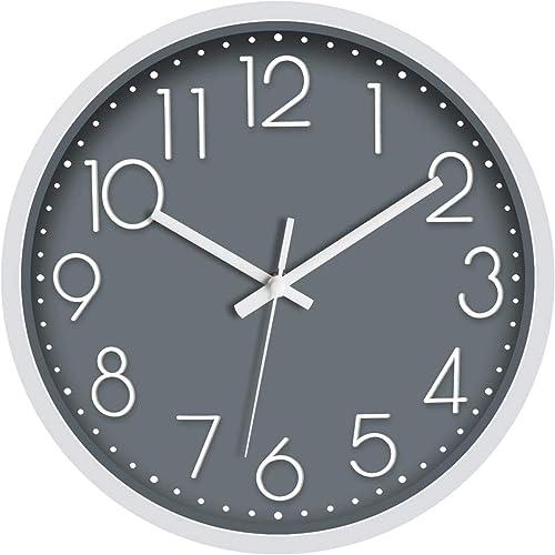 Foxtop 30 cm Moderne Horloge Murale Mute Silencieuse Pendule Murale pour La Chambre Cuisine Salon (Gris)