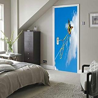 FCFLXJ Papel pintado 3D para puerta Pegatina autoadhesiva de cometa PVC para puerta, papel pintado con foto 3D, Mural, sala de estar, Puerta del dormitorio, pegatinas de decoración 80 * 200CM