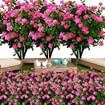 YXYQR 8 Pack Outdoor Artificial Flowers UV Resistant Fake Plastic Flower Outside Indoor Faux Greenery Shrubs for Windowsill, Garden, Pot, Vase, Flower Bed, Office, Wedding Decoration Pink