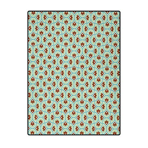 Floral Indoor Carpet for Boys Indoor Outdoor Kids Play Mat Nursery Throw Rugs Old Fashioned Flowers Motif with Abstract Effects Nostalgia Print Brown Pale Green Seafoam 6 x 8.8 Ft