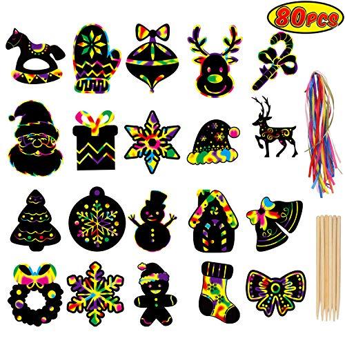 LOKIPA Scratch Paper Art Set, 80 Pieces Magic Rainbow Scratch Off Cards Ornaments for Kids Christmas