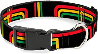 "Buckle-Down Plastic Clip Collar - Maze Lines Black/Rasta - 1/2"" Wide - Fits 9-15"" Neck - Large 1"" Wide - Fits 15-26"" Neck ..."