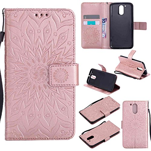 Guran PU Leather Wallet Case for Lenovo Moto G4 (5.5 inch) Smartphone Flip Cover with Card Slot Stand Function Case - Rose gold