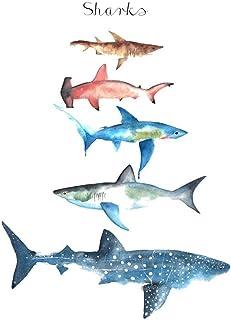 WYUEN 5 hojas de tiburón para niños arte corporal tatuaje adhesivo para hombres y mujeres falso impermeable temporales tatuaje nuevos diseños 9,8 x 6 cm A-179
