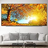 ganlanshu Pintura sin Marco Arte árbol Hoja Paisaje Lienzo salón Arte de la Pared decoración Moderna del hogar ZGQ5599 50X100cm