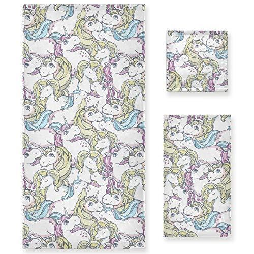 Naanle Juego de 3 toallas de baño con diseño de unicornio para baño de algodón altamente absorbente, toalla de baño grande+toalla de mano+toalla, paquete de 3 toallas de suavidad para decoración
