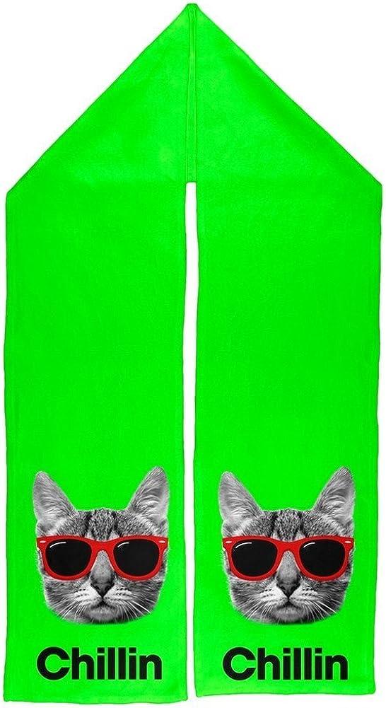 Chillin Cat Green Warm Fleece Scarf