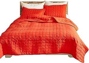 مجموعة أغطية السرير من الكتان طقم غطاء لحاف الملكة مكون من 3 قطع من أغطية السرير جيدة التهوية وصديقة للبشرة (اللون: برتقال...
