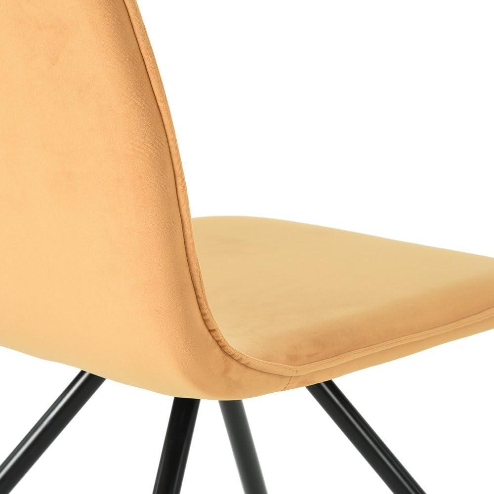 Fit@Home Lot de 2 chaises de salle à manger avec les cheveux en velours et pieds en métal Red Jaune