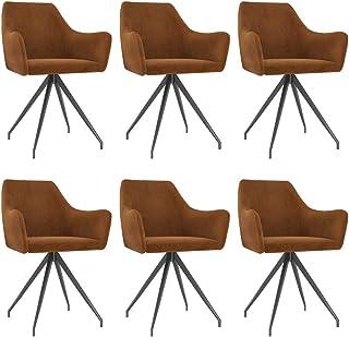 vidaXL 6X Sillas de Comedor Asiento Mobiliario Muebles de Salón Sala de Estar Cocina Escritorio Hogar Suave Cómodo con Respaldo de Terciopelo Marrón