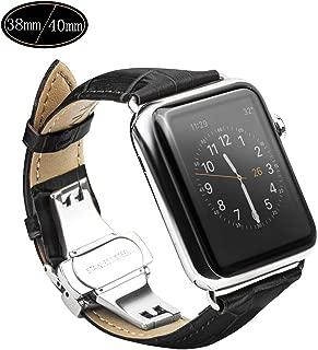 Xboun コンパチブル apple watch バンド,本革 ビジネス用 アップルウォッチバンド プッシュ式 Dバックル Apple Watch Series 5/4/3/2/1/Nike+ (40mm/38mm, ブラック)