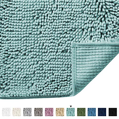 Microfiber Bath Rugs Chenille Floor Mat Ultra Soft Washable Bathroom Dry Fast Water Absorbent Bedroom Area Rugs, 17 x 24 - Inch, Eggshell Blue