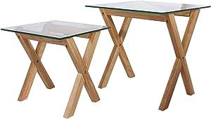 THE HOME DECO FACTORY Tables Gigognes Plateau Carré - 2 pcs, Bois, 50 x 50 x 50 cm