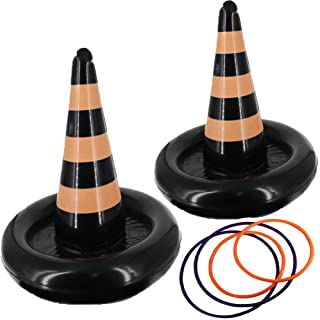 heytech 2 Pack Inflatable Witch Hat Ring Toss Game Halloween Games for Kids Wearable or Placement(2 Hats & 4 Rings ) (Witc...