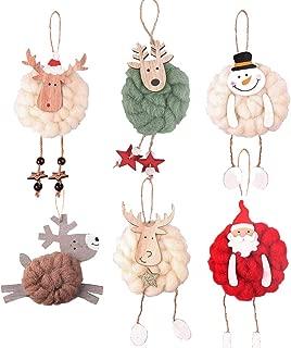 Festivous Wishel Christmas Tree Decorative Pendant Knitting Wooden Christmas Hanging Ornaments Home Decors 6PCS