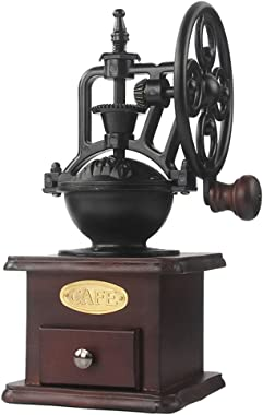 MOON-1 Manual Coffee Grinder Antique Cast Iron Hand Crank Coffee Mill With Grind Settings & Catch Drawer 120 x 120 x 260mm