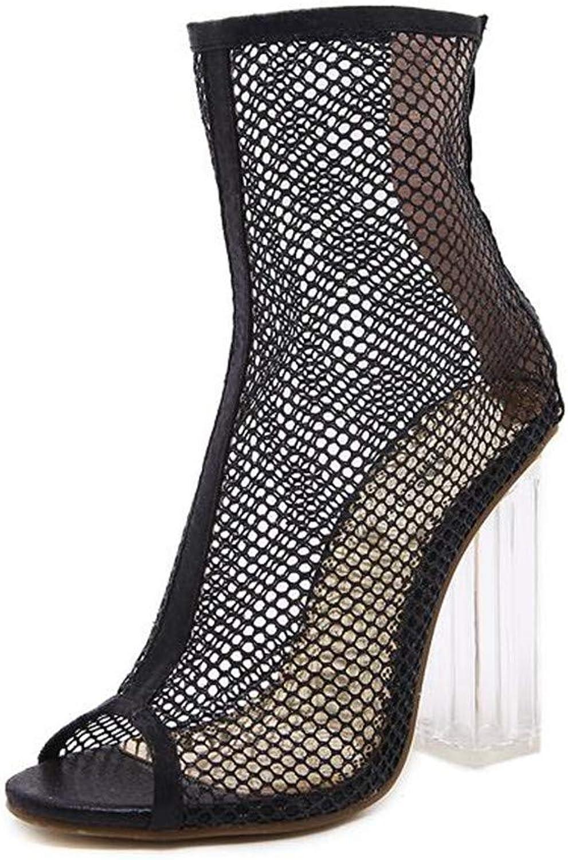 Liu guifang Women Summer Ankle Boots Mesh Cut Out Hollow Peep Toe Bootie shoes Woman Transparent Block Thick High Heel Sandals