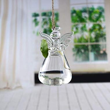 GENEDEY Angel Design Glass Vases Clear Flower Plant Terrarium Container Hanging Vase Wedding Decor Garden Ornaments Hanging P