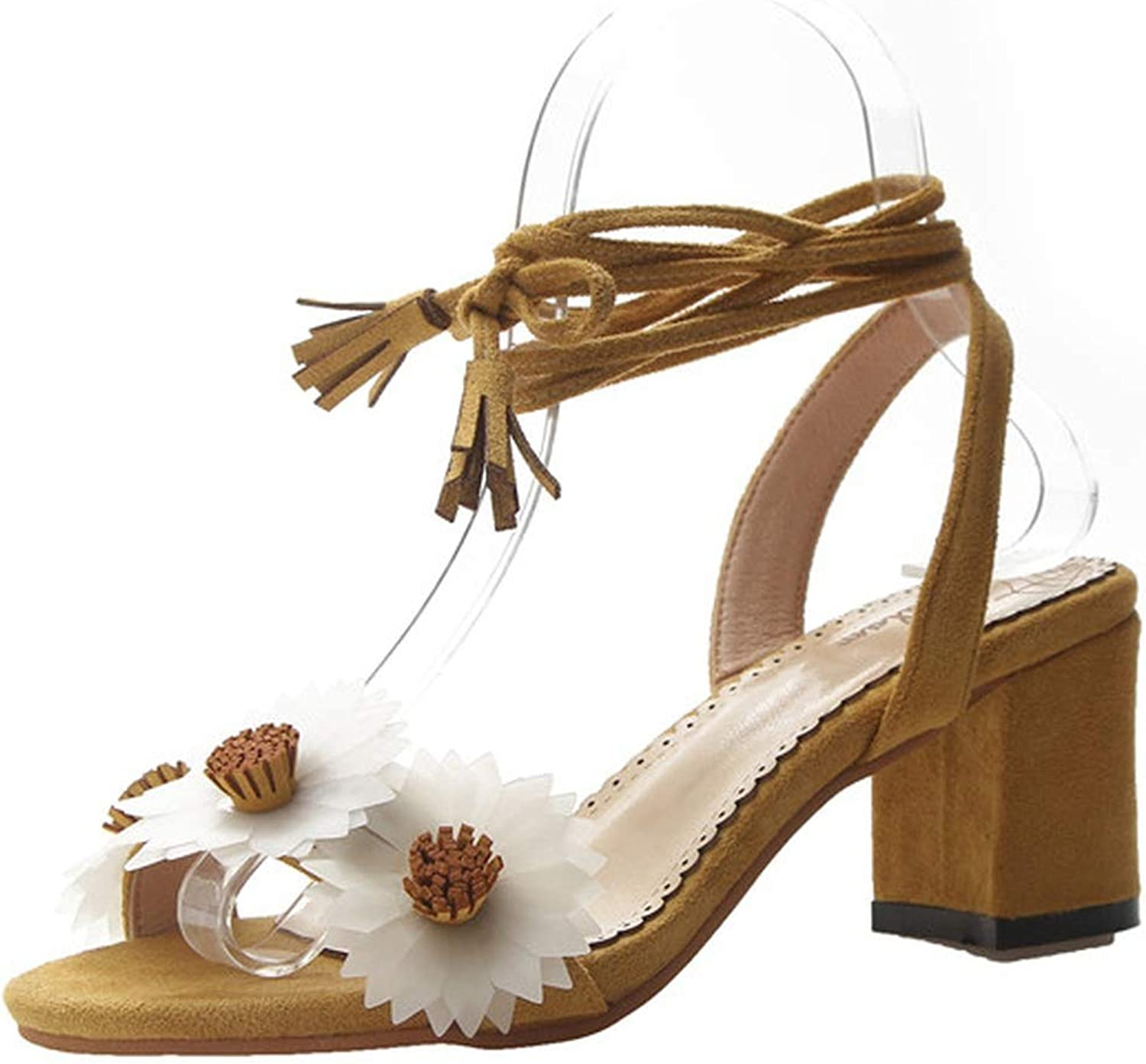 Flowers Open Toed Sandals Lady Sweet Flock Ankle Strap Pumps Thick High Heel Sandals