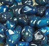 ROYAL SAPPHIRE Piedras decorativas Piedras decorativas de roca de río - Piedras de color azul natural Para mejorar la apariencia en cristalería como jarrones, acuarios y terrarios ...