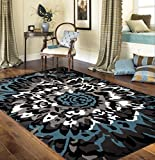 Modern Large Floral Pattern Area Rug 5' 3' X 7' 3' Blue/Gray