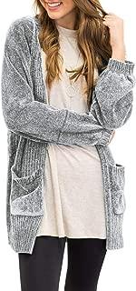 MEROKEETY Women's Long Sleeve Open Front Knit Sweater Soft Velvet Chenille Cardigans with Pockets