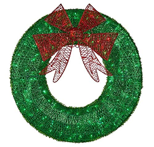 CGC 60cm Green & Red Bow Luxury Extra Large Pre lit LED Green Christmas Wreath Indoor or Outdoor
